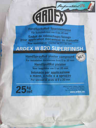 ARDEX W820 SUPERFINISH, HandSpritzRoll Spachtelmasse 25kg