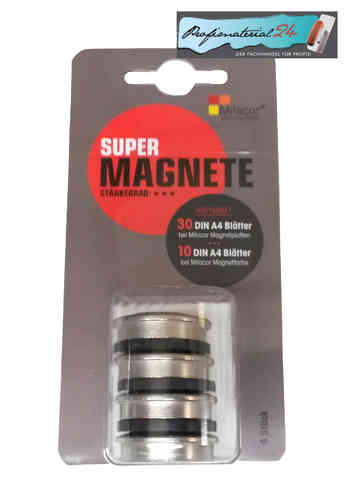 MILACOR Supermagnete 4'er Set