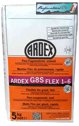 ARDEX G8S flexible tile grout 1-6, quick